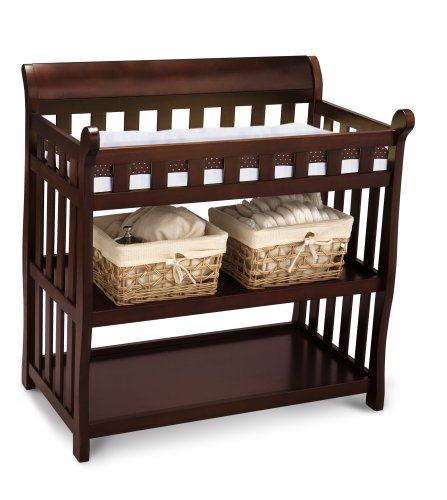 A Freestanding Table Such As The Delta Children Eclipse Changing Table, Is  One With Open Shelving And Removable Baskets For Drawers.